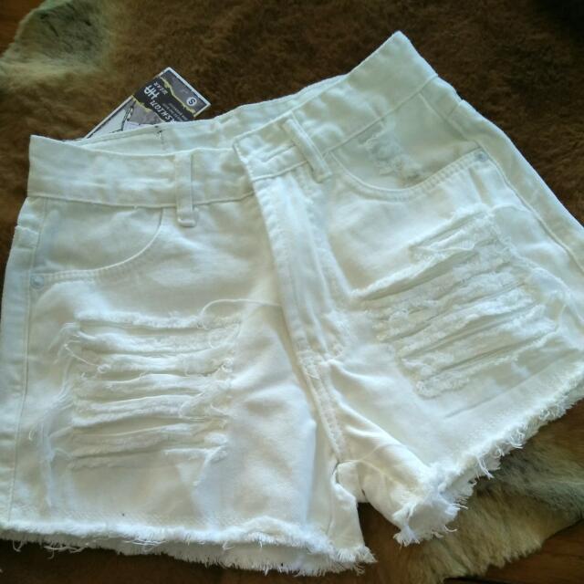 High Waist Distressed Shorts