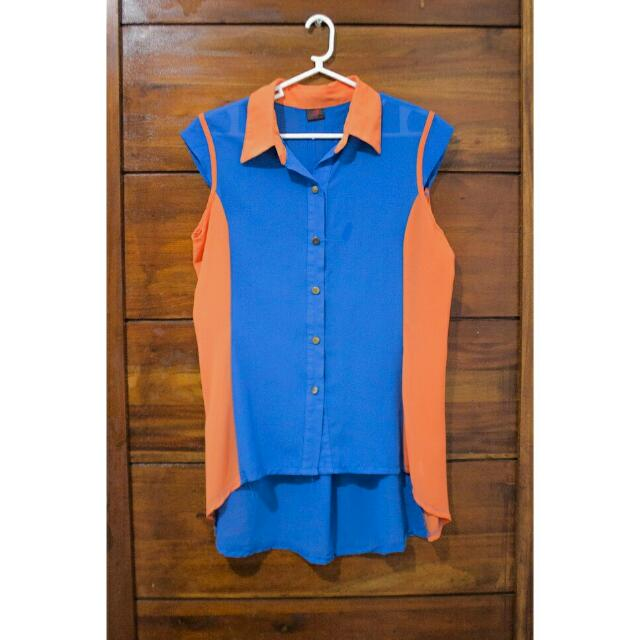 High-Low Blue & Orange Chiffon Blouse