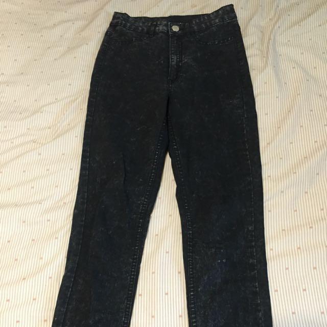 H&M深灰色窄管貼腿褲/牛仔褲/高腰牛仔褲:緊身褲
