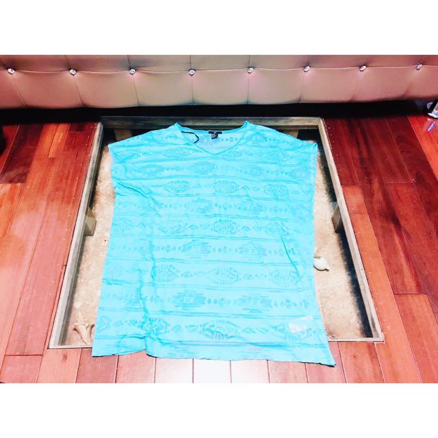H&M歐美薄荷藍夏日海灘比基尼外搭半透明罩衫