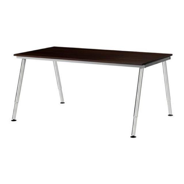 Ikea Galant Black Tempered Glass With Chrome Legs Furniture Tables Rh Sg Carou Com Desk Silver Color