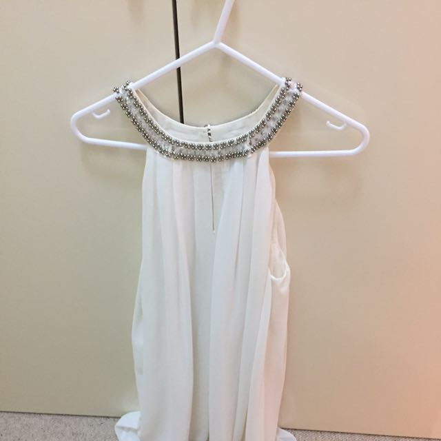 Jewelled Short White Dress