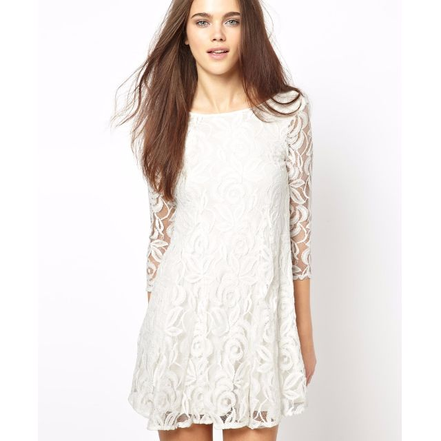 John Zack Lace Swing Dress With Deep V Back, Size Small