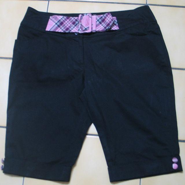 kinloch anderson金安德森38號,黑色+粉紅.紫.黑.白色格紋環扣.鈕扣五分褲