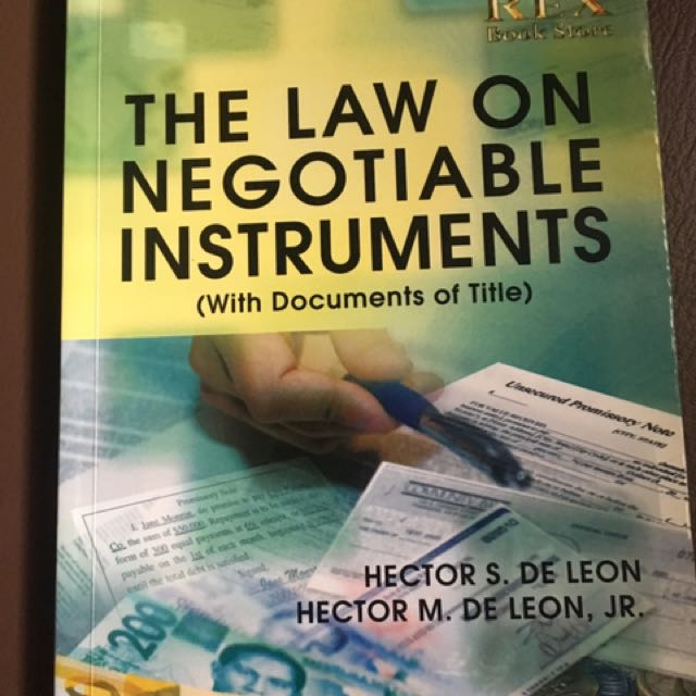 the law on negotiable instruments by hector de leon free pdf