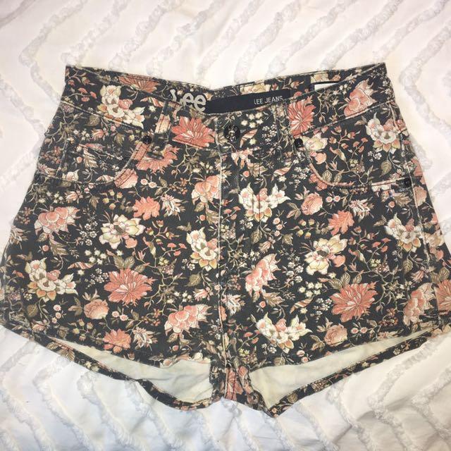 Lee Floral High Waisted Denim Shorts