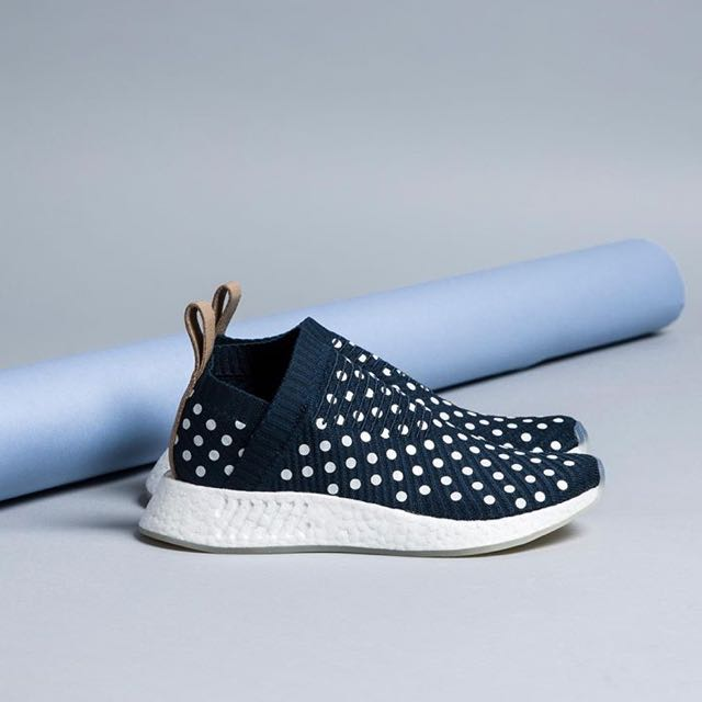 8aee211eb28c3  NEW  Adidas NMD CS2 Ronin Pack In Collegiate Navy   White Polka Dots With  Nude Heel Tab