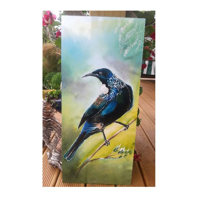New Zealand TUI Bird, OUTDOOR Wall ART Panel from my original silk painting, Outside art, Garden Art, New Zealand native Tui bird, Handmade