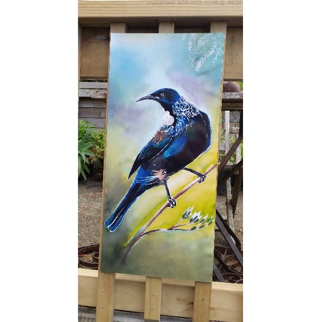 New Zealand TUI Bird, OUTDOOR Wall ART Panel from my original silk painting, Outside art, Garden Art, New Zealand native Tui bird, LARGE SIZE, 68cm x 30cm,