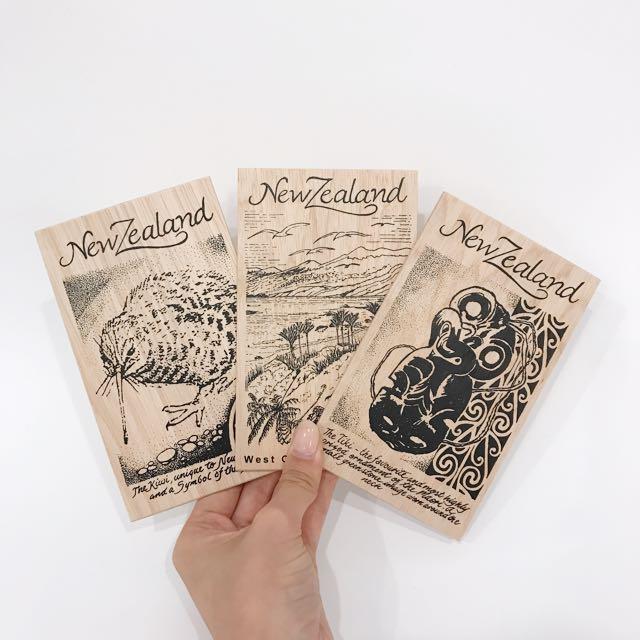 New Zealand Wooden Postcards x3