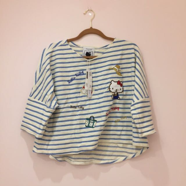 全新✨Pazzo Sanrio MIT 渡假旅行KITTY條紋上衣hello kitty 可愛刺繡貼布