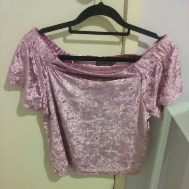 Pink off-the-shoulder Mirrou Shirt