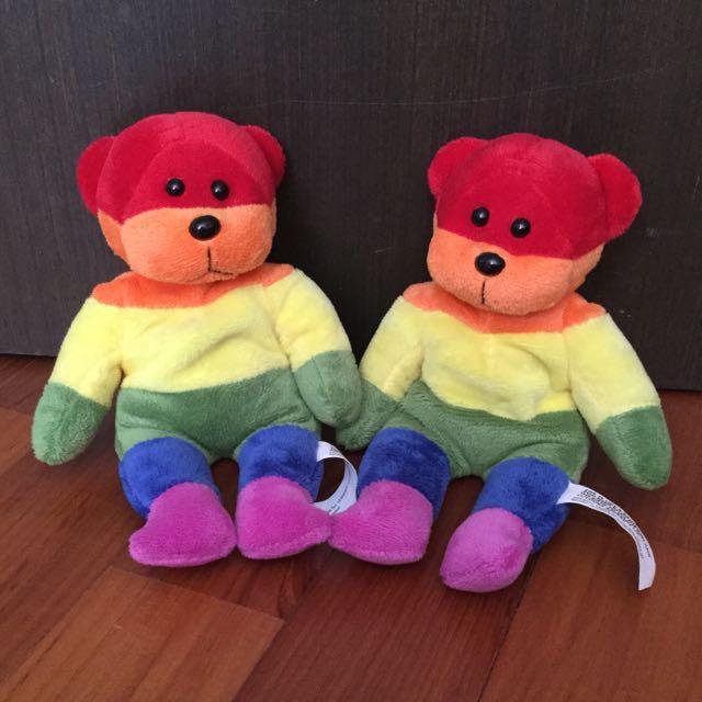 Rainbow Beanie Bears (pair)