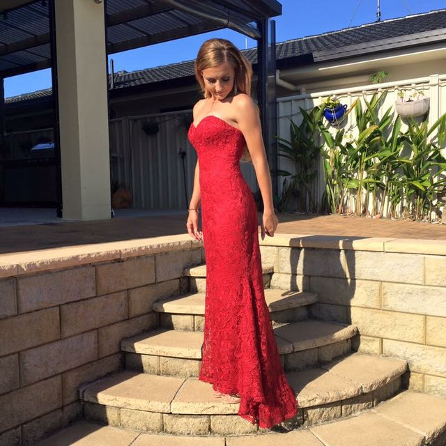Red Lace Formal Dress Size 6 (price Drop)