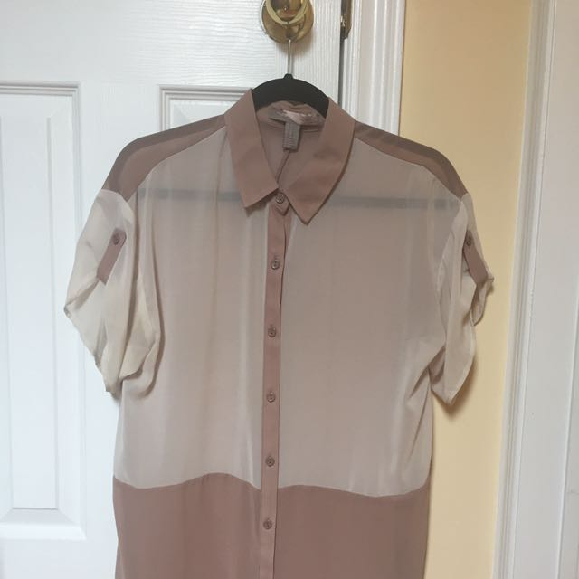 Silky Short Sleeve Button Up