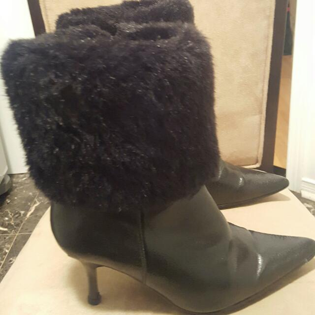 Size 6 Faux Leather and Fur Boots