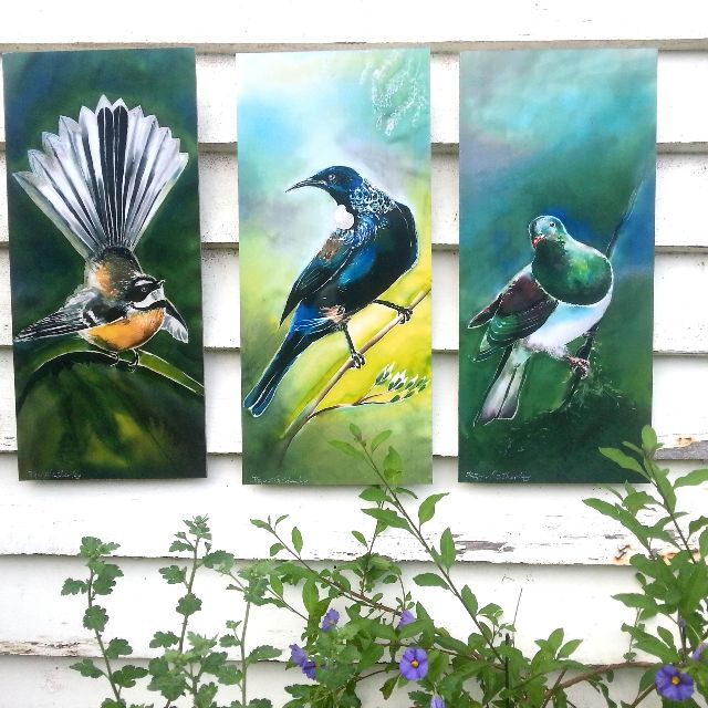 SPECIAL price for 3 birds, New Zealand TUI, FANTAIL, KERERU, OUTDOOR ART Panels LARGE