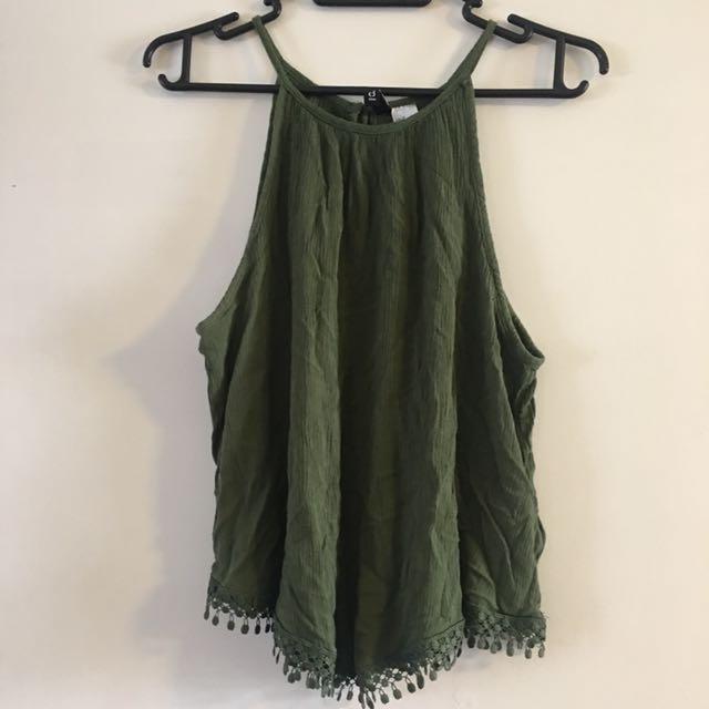 Sz 8 Khaki Green Top H&M