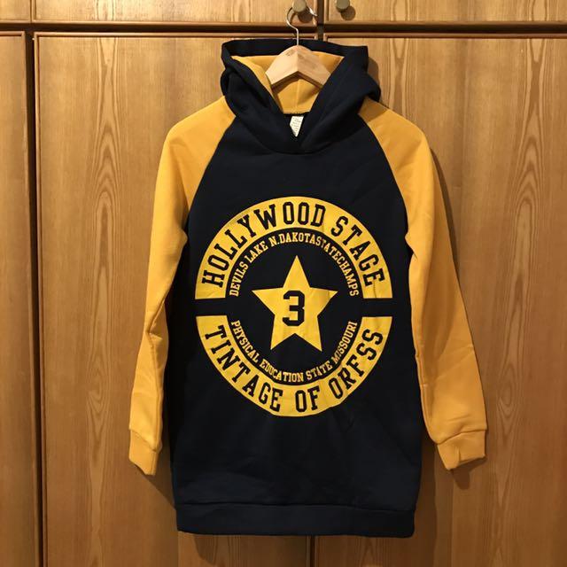 藍色黃色撞色數字膠印內刷毛T恤 #你喜歡我送你 #免購物直接送