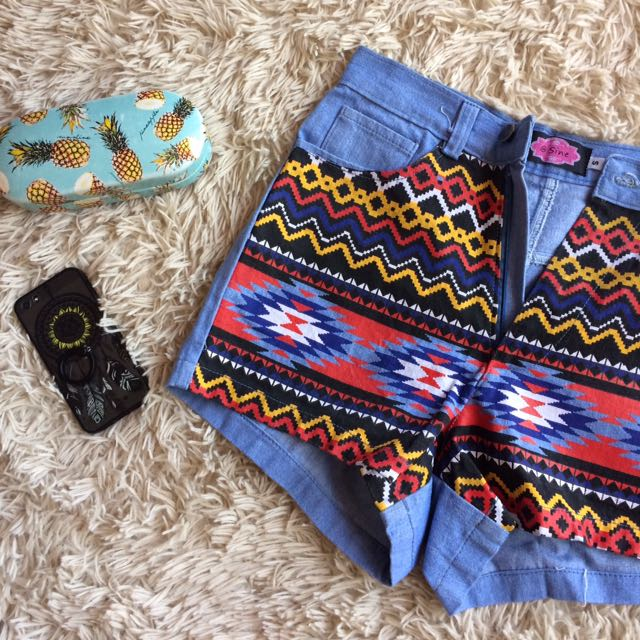 Tribal / Aztec Pattern Denim High Waisted Shorts (REPRICED ✨)