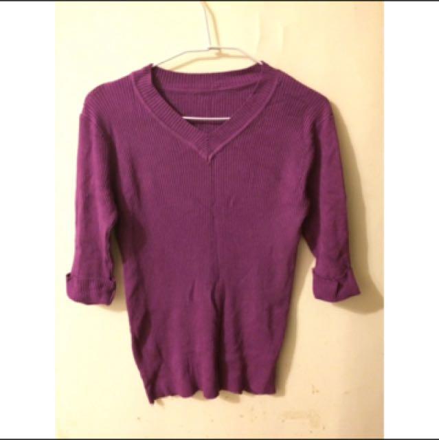 葡萄紫五分袖v領針織上衣