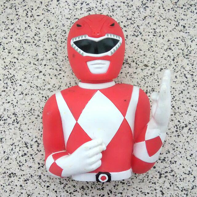 Vintage 90's Power Rangers Red Ranger Coin Bank