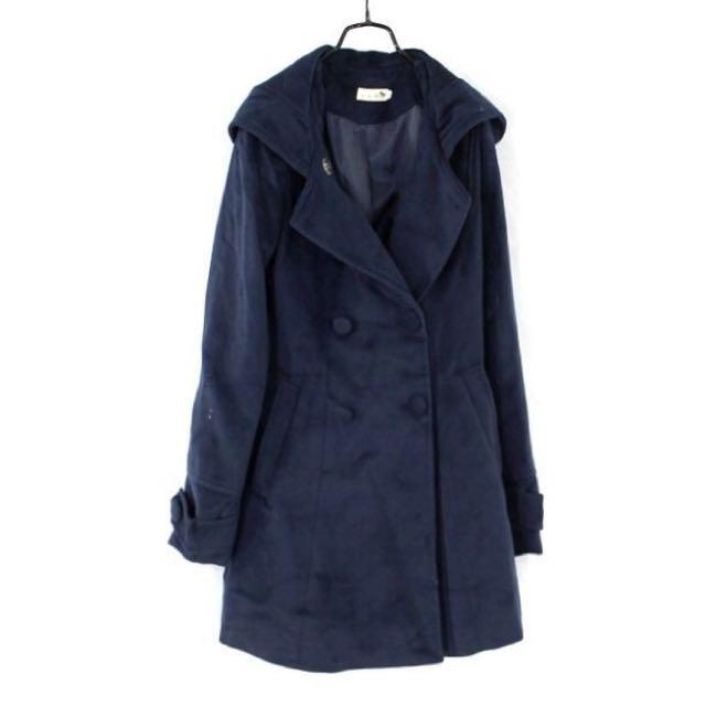 正韓【vivid】深藍色雙排釦連帽大衣外套 S