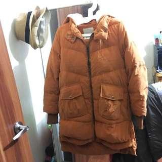 Gozo 長版外套 橘色 前短後長設計