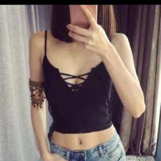 Lace Up Knitted Spag Top