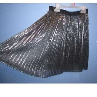 Silver Metallic Chiffon Gauze Formal Accordian Pleated Skirt Small