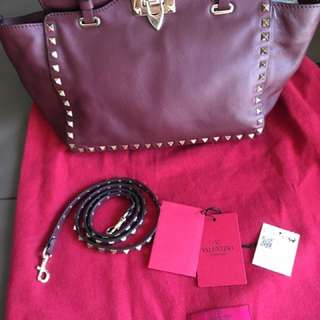 Authentic Valentino The Rockstud Small Leather Tote In Color Burgundy