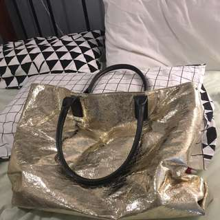 WITCHERY Gold Large Tote Bag
