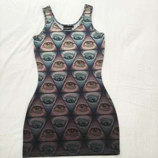 Pulp Kitchen Illuminati Eye Bodycon Dress