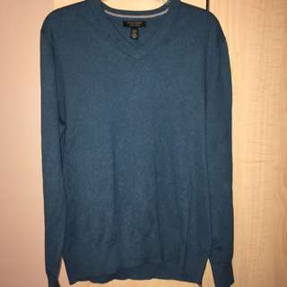 Men's Banana Republic Cotton Cashmere Teal Sweater