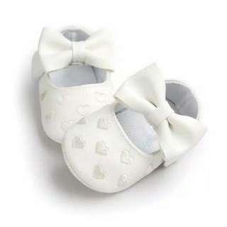 White Ribbon Baby Prewalker Shoes