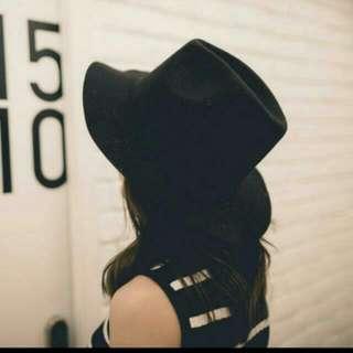 韓羊毛黑色立體帽