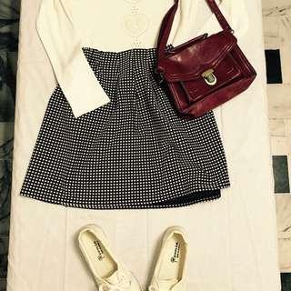 黑白格子短裙