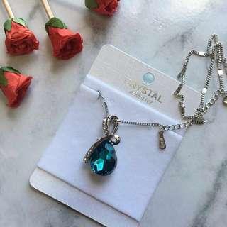 Blue Topaz Teardrop Pendant Necklace