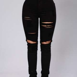 High Waisted Ripped Black Jeans (15)