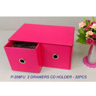 2 DRAWERS CD BOX  ( FOR 32PCS CD )