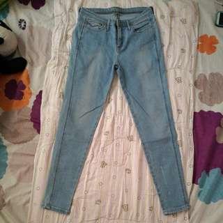 Highwaist Faded Jag Denim Pants, Size29