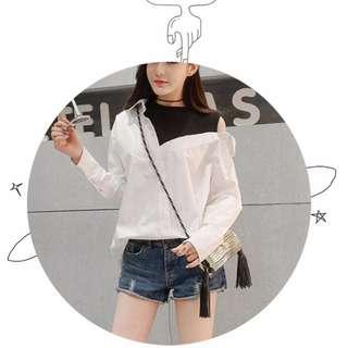 全新 不規則假兩件白襯衫 滑料寬鬆輕柔軟 LULUS STARMIMI 貓咪曬月亮