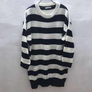 🚚 全新-條紋長版針織毛衣