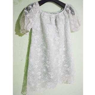 brokat dress white and tosca