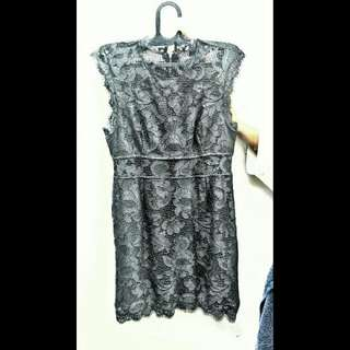 Forever 21 BodyCon Cutout Lace Dress With Faux Leather