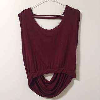 Maroon Cowl Back Crop Top