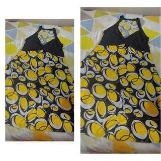 Yellow Halter-type Printed Dress