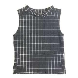 Checkered Turtleneck Top