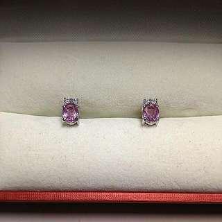 14k白金粉紅寶石耳環