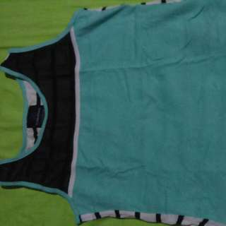 Plains & Prints blouse Sleeveless.color green/blk..stripes blk At the back